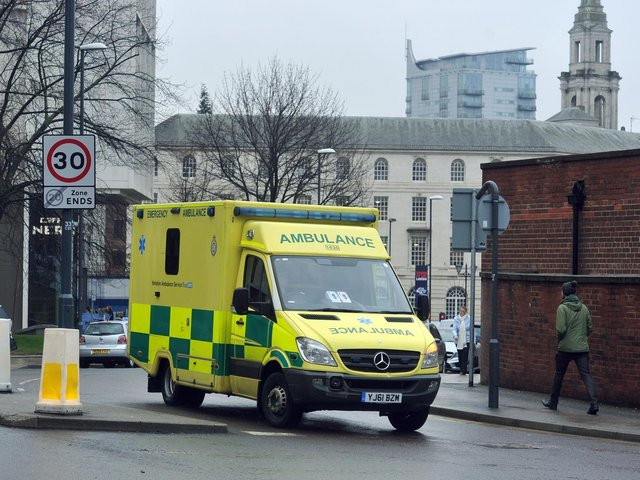 Ambulance pictured outside Leeds General Infirmary