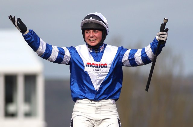 Bryony Frost lines up on Frodon in today's Gold Cup.