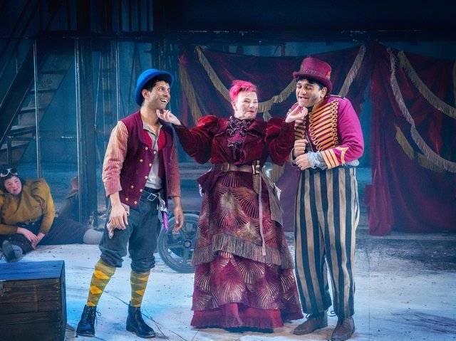 Mitesh Soni (Charley), Caroline Parker (Fagin) and Nadeem Islam (Artful Dodger) in Oliver Twist. (Photography by Anthony Robling).