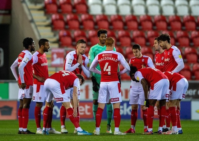 Pre-match huddle: Rotherham United players ahead of Watford   Picture: Bruce Rollinson