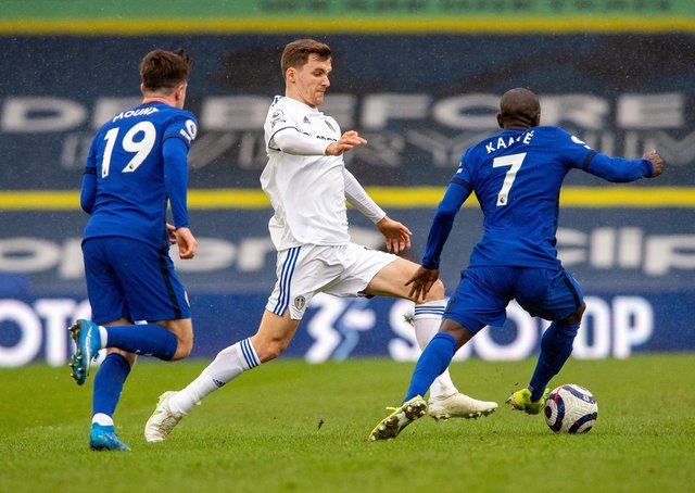 Diego Llorente goes past Mason Mount and N'Golo Kante.  Picture Bruce Rollinson