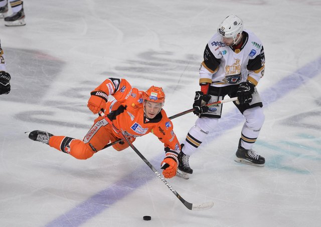 ALL ACTION: Tanner Eberle will be back in a Sheffield Steelers'shirt for the Elite Series. Picture courtesy of Dean Woolley.