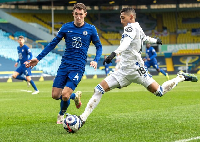 Raphinha in action for Leeds against Chelsea (Picture: Bruce Rollinson)