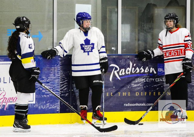 HITTING THE ICE: Leeds Roses take a breather during their one and only practise session at Elland Road last year. Picture courtesy of Leeds Roses/All Sports Photography.