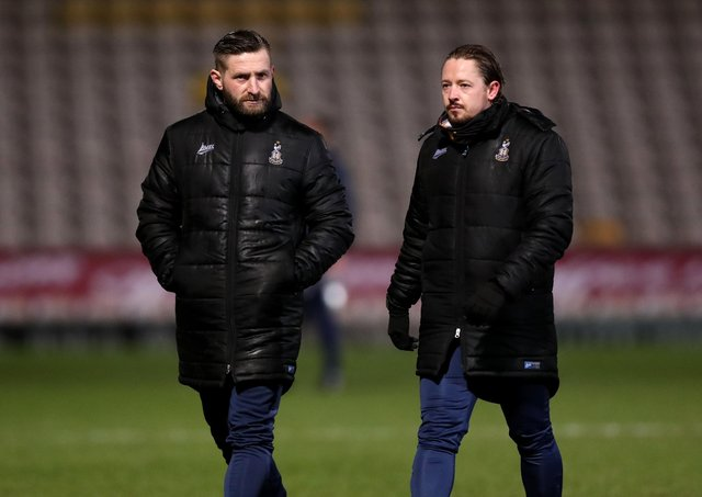 PUSHING ON: Mark Trueman and Conor Sellars, joint managers of Bradford City. Picture: George Wood/Getty Images