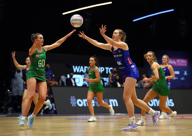 Learning on the job: Leeds Rhinos' Sienna Rushton is making the most of her unexpected starting chance.  (Photo by Jan Kruger/Getty Images for Vitality Netball Superleague)