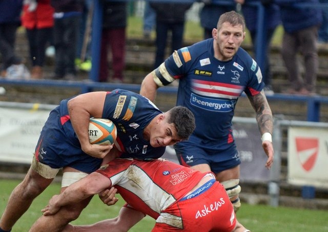 Guido Volpi: Doncaster's Argentinian forward scored one of fourt tries at Hartpury. (Picture: Marie Caley)