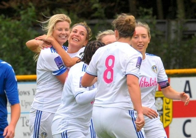 Leeds United Women, where Sue Smith used to play, celebrate a goal against Durham Cestria (Picture: Steve Riding)