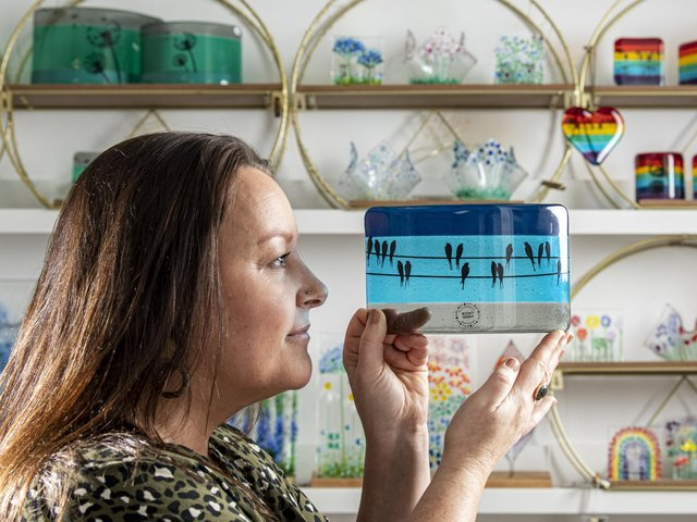 Kate Emma Park with her decorative glassware made in her studio in Farsley. Her company Twice Fired has moved online during the coronavirus pandemic. Picture Tony Johnson