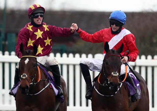 Jack Kennedy and Minella Indo (left) are congratulated by Rachael Blackmore on A Plus Tard after a Henry de Bromhead one-two in the WellChild Gold Cup.