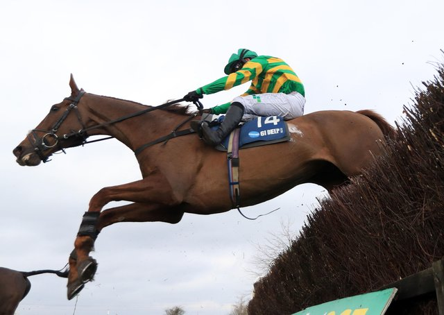 Time To Get Up ridden by Jonjo O'Neill Jr. on their way to winning the Marston's 61 Deep Midlands Grand National at Uttoxeter racecourse.
