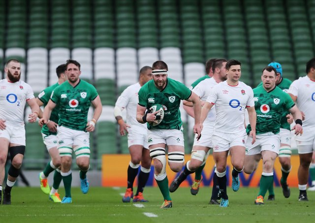 Motoring: Iain Henderson of Ireland makes a break during the win over England in Dublin. (Photo by Niall Carson - Pool/Getty Images)