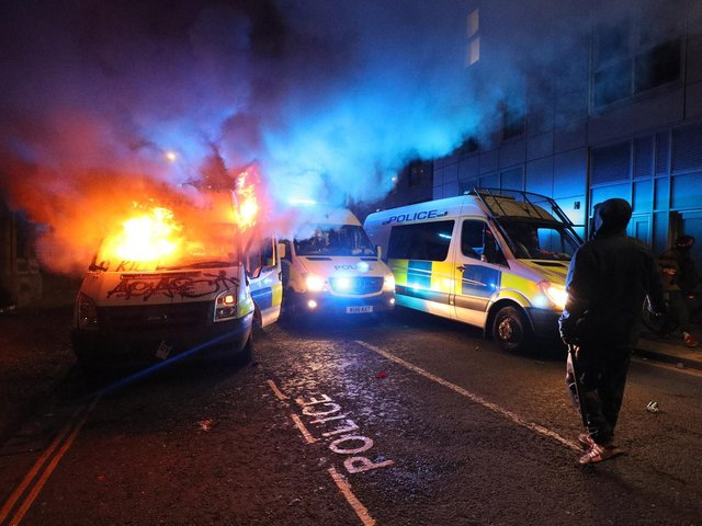 What started as a non-violent demonstration on Sunday afternoon turned violent after hundreds of protesters descended on the New Bridewell police station.