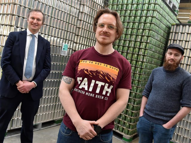 Picture caption: L-R Jonathan Pollard, Partner, Ward Hadaway with Russell Bisset, Founder and Managing Director, Northern Monk Brewery and Brian Dickson, Head Brewer and Co-Founder, Northern Monk Brewery.