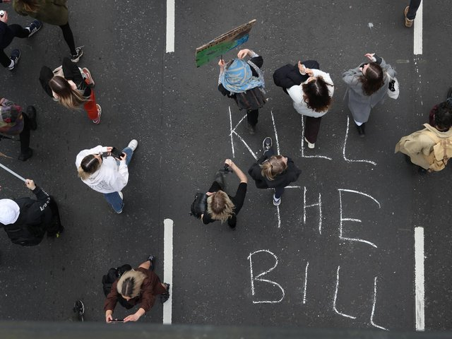 People take part in a 'Kill the Bill' protest in Bristol, demonstrating against the Government's controversial Police and Crime Bill. Photo: PA