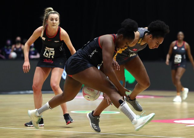 Standing firm: Leeds Rhinos' goal defence Vicki Oyesola, right (Photo by Jan Kruger/Getty Images for Vitality Netball Superleague)