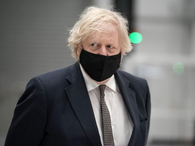 Prime Minister Boris Johnson during a visit to BAE Systems at Warton Aerodrome in Lancashire. Photo: PA