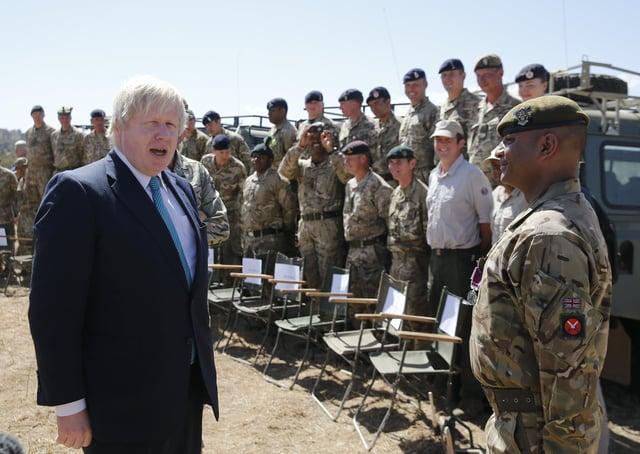 Then-Foreign Secretary Boris Johnson at the British Army Training Unit Kenya (BATUK), in 2017. (Thomas Mukoya/Pool via AP)