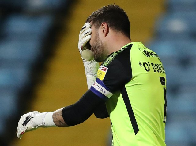 Bradford City captain Richard O'Donnell can't hide his disappointment after seeing his side go 2-0 down at Scunthorpe United. Pictures: Getty Images