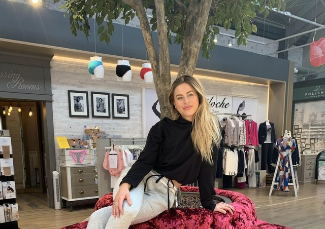Back in June 2020, Rebecca Dransfield began modelling in socially distanced fashion shoots at Sandersons, the department store at Fox Valley, north Sheffield, founded by her late mother Deborah. Here she wears Calvin Klein black lounge jumper and grey joggers.