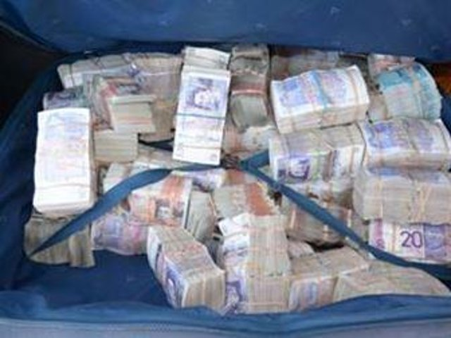 Over £1.1 million was found stashed in two suitcases in the boot of the car.