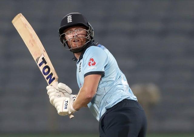 England's Jonny Bairstow bats against India. (AP Photo/Rafiq Maqbool)