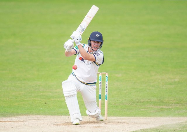 Yorkshire's Gary Ballance hits out against Essex. Picture by Allan McKenzie/SWpix.com