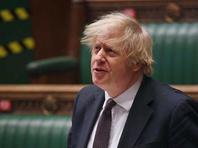 Handout photo issued by UK Parliament of Prime Minister Boris Johnson during Prime Minister's Questions at the House of Commons, London. Photo: UK Parliament/Jessica Taylor