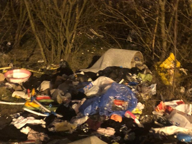 Some of the rubbish left behind by a group of travellers when they moved on from the Castlefield car park in Castleford