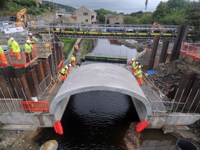 Part of the new Elland Bridge, which was destroyed in the Boxing Day 2015 floods, put into place in September 2016. Picture: Tony Johnson.