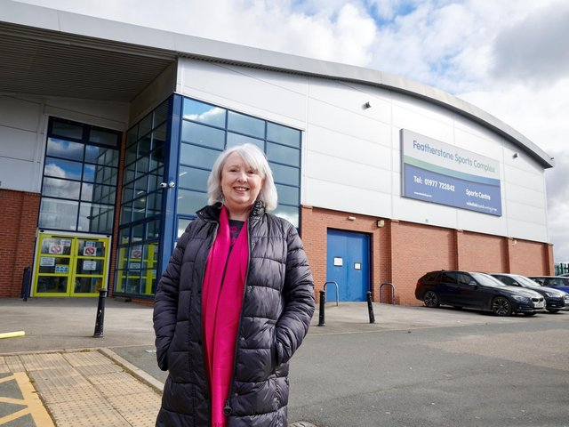 Coun Jacquie Speight outside the newly-refurbished sports centre