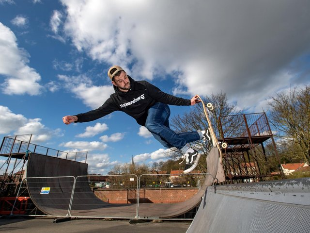 Ryan Swain who is leading a public and community project and campaign to save the halfpipe and skatepark in Malton, North Yorkshire.