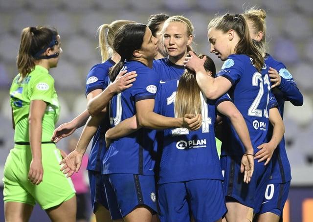 Match-winner: Chelsea's Pernille Harder of Chelsea, centre, against Wolfsburg. Picture: AP