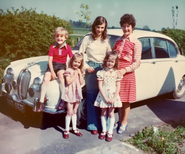 One of the family: A Jaguar 240 bought by racehorse trainer Neville Bycroft in 1968 to celebrate the birth of their third child is now the only one of its type to survive on British roads.