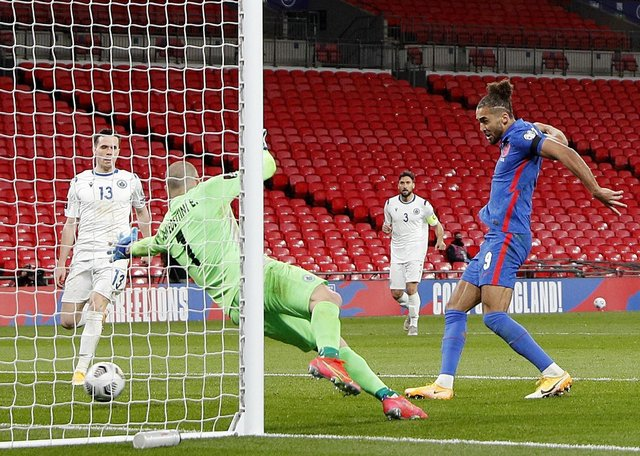 England's Dominic Calvert-Lewin scores their side's fourth goal at Wembley. Pictures: PA.