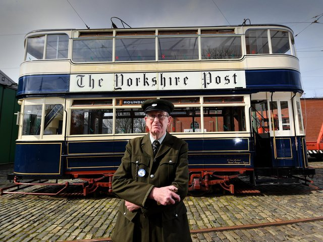 Volunteer Richard Sykes pictured with the 100 year old Leeds 345 Vintage TramCar at the Crich Tramway Village