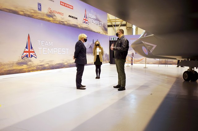 Prime Minister Boris Johnson is shown around the Team Tempest facility during a visit to BAE Systems at Warton Aerodrome in Lancashire, to mark the publication of the Integrated Review and the Defence White Paper.