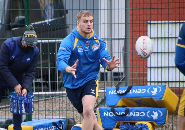 New campaign: Leeds Rhinos' Alex Sutcliffe during training on Friday, ahead of this weekend's Super League kick-off. Rhinos face Wakefield Trinity on Saturday at Headingley. Picture: leeds rhinos