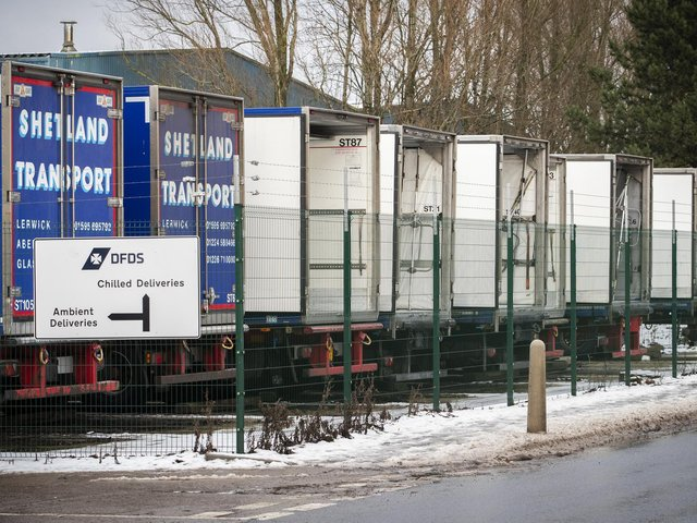 File photo  of lorries parked up at the DFDS warehouse at Larkhall, South Lanarkshire