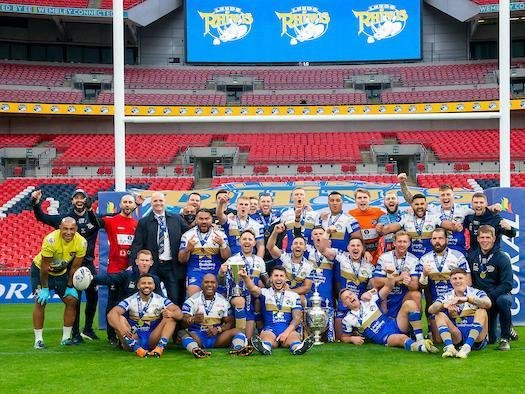 Leeds Rhinos celebrate with the Challenge Cup at Wembley last October. Picture by Allan McKenzie/SWpix.com.