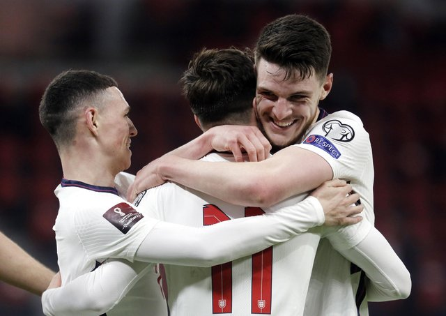England's Mason Mount (centre) celebrates scoring their side's second goal of the game (Picture: Florian Abazaj/PA)