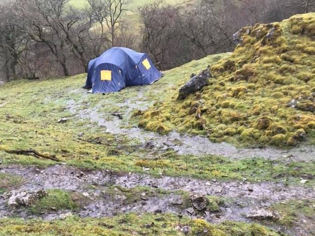 The wild campers pitched their tent near Kisdon Force (photo: Matthew Teague)