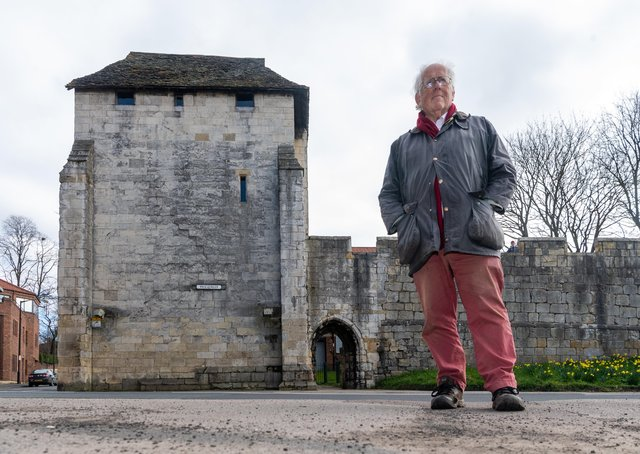 .Bill Hill, chairman, of Friends of York Walls, at Red Tower.