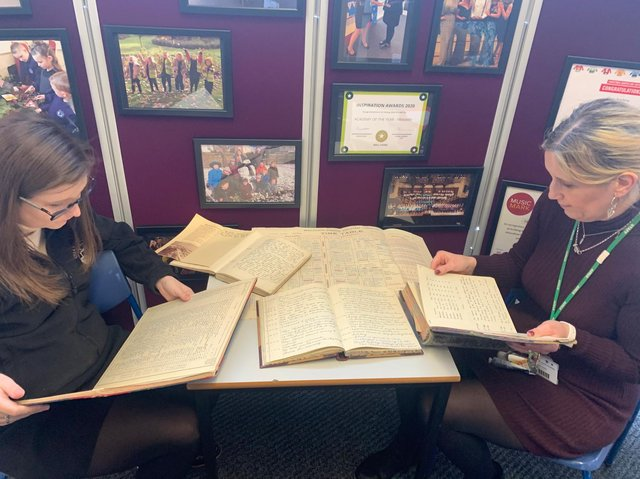 The rare find has  revealed writings of former headteachers at the school, dating from 1910  1998. The books also included photos, diagrams, old records and daily diary entries, documenting school life in detail, from normal days through to World War II air raids. Photo credit: Submitted picture