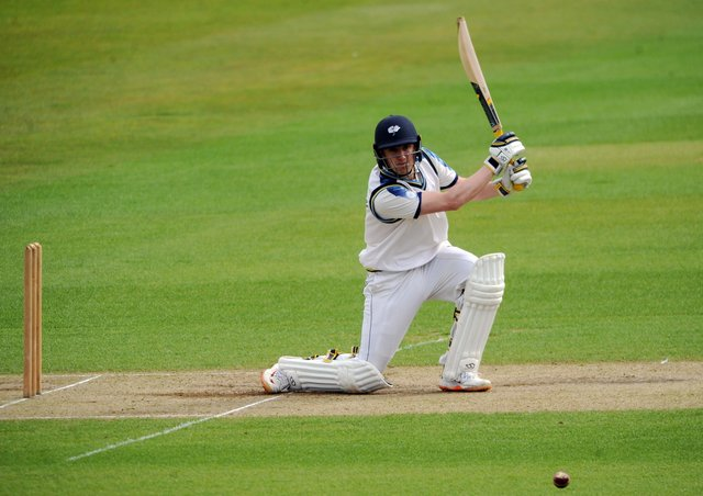 Tom Kohler-Cadmore dirves through the covers on his way to an unbeaten 109 at Headingley. Picture: Dave Williams.