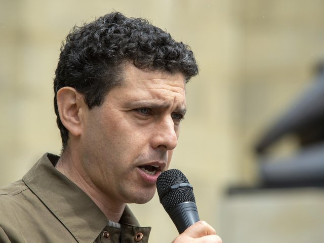 Alex Sobel MP speaking, Parents' protest over funding for young people with special educational needs and disabilities outside Leeds City Art Gallery in 2019.