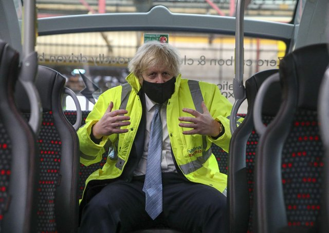Boris Johnson during the launch of his new bus strategy.