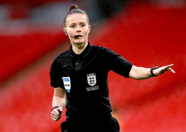 Referee Rebecca Welch: First female to be appointed to take charge of an EFL game, Harrogate Town v Port Vale on Easter Monday. Picture: Adam Davy/PA