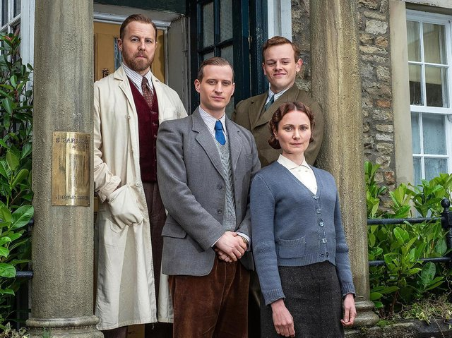 Top Left: Siegfried Farnon (Samuel West), Top Right: Tristan Farnon (Callum Woodhouse), Middle: James Herriot (Nicholas Ralph), Bottom: Mrs Hall (Anna Madeley) Picture: Playground Television (UK) Ltd.