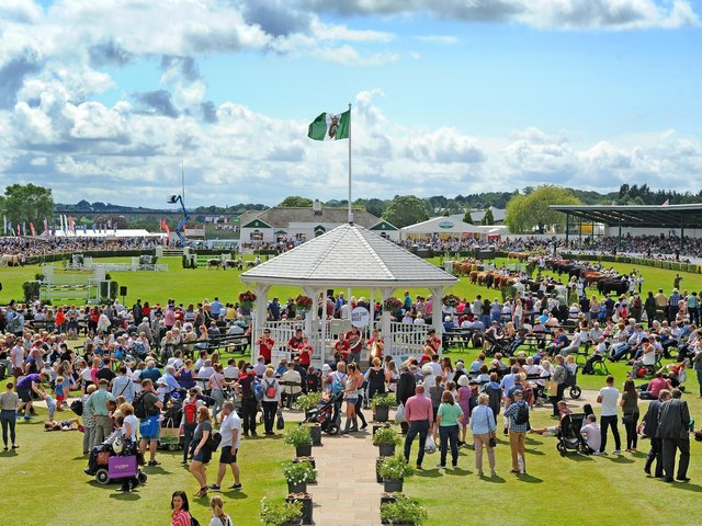 Visitors on the Presidents Lawn, the bandstand and the cattle parade in the main ring at the Great Yorkshire Show in 2019.